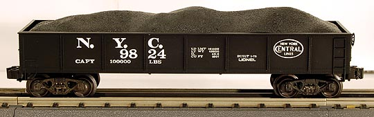 Lionel 6-9824 New York Central Gondola with Coal Load Std. O