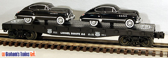Lionel 6-17537 Route 66 Series Flatcar with Black 1950\'s Coupes Std. O