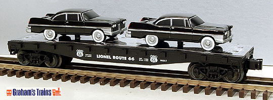Lionel 6-17557 Route 66 Series Flatcar with Two Sedans, Std. O