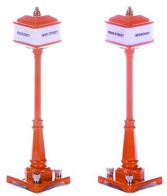 MTH 30-1029 #57 Pair Corner Lamp Post Orange