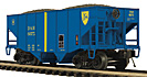 MTH Premier 20-97303 Delaware & Hudson 2-Bay Fish Belly Hopper with Coal Load #6075