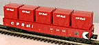 MTH 30-7296 CP Rail Gondola with 5-LCL Containers
