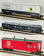 MTH Set of Three B&O Rolling Stock, Boxcar, Gondola with Junk Load & Caboose