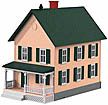 MTH 30-9045 Row House with Porch Cream with Green Shutters