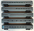 "Weaver Union Pacific 5-Car 21"" Aluminum Passenger Car Set Grey"
